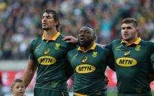 Springbok captain Eben Etzebeth (left) sings the national anthem before the start of a Test match. Picture: @Springboks/Twitter