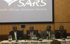 Sars commissioner Tom Moyane and other executives during a briefing on the KPMG report. Picture: Gia Nicolaides/EWN