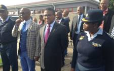 Minister Fikile Mbalula arrives at the Adriaanse Community Centre in Elsies River. Picture: Lauren Isaacs/EWN