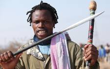 Protesters from Lonmin's Marikana Mine, carried weapons while demonstrating against poor wages. Picture: Taurai Maduna/EWN.