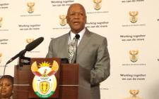 Justice Minister Jeff Radebe speaking about issues including the Marikana shooting. Picture: Christa van der Walt/EWN.