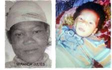 FILE: A screengrab showing a combination picture of Miranda Julies and Lucas Cedras. Picture: Facebook.com.