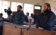 Murder accused Pieter Doorewaard and Phillip Schutte in the Coligny magistrates court on 8 May 2017. Picture: Kgothatso Mogale/EWN