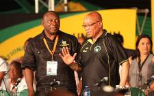 The ANC's newly elected Deputy President Cyril Ramaphosa with re-elected ANC President Jacob Zuma, in Mangaung. Picture: Taurai Maduna/EWN.