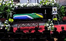 Zola Skweyiya's casket at the speccial funeral held in Pretoria. Picture: Kayleen Morgan/EWN