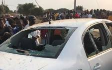 One the damaged SABC cars after tensions rose in Vuwani. Picture: Pelane Phakgadi/EWN