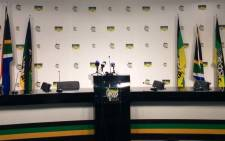 FILE: An empty podium is seen ahead of ANC briefing. Picture: Twitter/@MYANC.