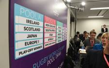 The draw for Pool B is seen during the Rugby World Cup Japan 2019 pool draw at the Kyoto state guesthouse in Kyoto on 10 May 2017. Picture: AFP