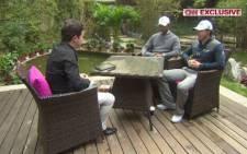 A screengrab of CNN's Shane O'Donoghue talks to Tiger Woods and Rory MacIlroy.