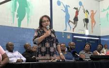 Cape Town Mayor Patricia de Lille pictured on 27 February 2018, during talk with Gugulethu residents following protests over housing. Picture: Lauren Isaacs/EWN.