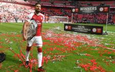 Olivier Giroud scored the decisive spot kick as Arsenal beat Chelsea 4-1 in a penalty shootout to win the Community Shield at Wembley on 6 August 2017. Picture: Official Arsenal Facebook page.