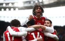 Arsenal FC players celebrate a goal during a match against Watford FC on 11 March 2018. Picture: @Arsenal/Twitter.