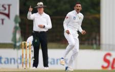 Proteas spinner Keshav Maharaj celebrates taking a wicket. Picture: AFP