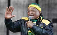 President Jacob Zuma addresses supporters during an ANC rally in Port Elizabeth on 23 July 2016 ahead of the municipal elections. Picture: AFP.