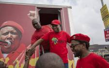 Economic Freedom Fighters leader, Julius Malema, greets supporters outside Chris Hani Baragwanath Hospital as the political party held a demonstration demanding improvements in public healthcare on 28 February 2018. Picture: Ihsaan Haffejee/EWN