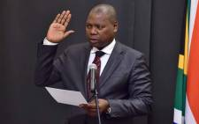 New Minister of Cooperative Governance and Traditional Affairs Zweli Mkhize taking Oath of Office in Parliament. Picture: GCIS.
