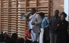 Gauteng Education MEC Panyaza Lesufi addressing pupils at the Norkem Park High School on the East Rand. Picture: Thando Kubheka/EWN.