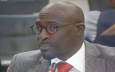 A screengrab of Malusi Gigaba appearing before the state capture inquiry on 13 March 2018.