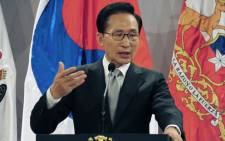 South Korea's president Lee Myung-bak speaks during a press conference at La Moneda Presidential Palace in Santiago on June 22, 2012. Picture: AFP.