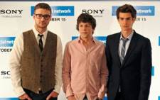 Actors Justin Timberlake (L), Jesse Eisenberg and Andrew Garfield during a photocall to promote 'The Social Network' on October 7, 2010. Picture: AFP.