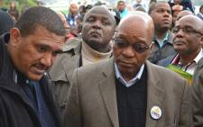 Western Cape ANC leader Marius Fransman and President Jacob Zuma speak to Cape Town residents about their living conditions. Picture: Nicky Carter.