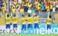 Mamelodi Sundowns players celebrate after winning the 2017/18 Absa Premier Soccer League title against Ajax Cape Town at the Lucas 'Masterpieces' Moripe Stadium in Atteridgeville on 28 April 2018.. Picture: @Masandawana/Twitter