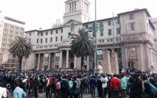 School pupils gathered outside the Gauteng Legislature where they are protesting on 30 July 2014. Picture: Lesego ngobeni/EWN.