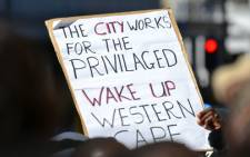 A protester holds up a placard during the ANCYL march through Cape Town on 27 August 2012. Picture: Aletta Gardner/EWN