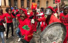 Economic Freedom Fighters supporters demonstrate on 12 April 2017 during an anti-Zuma march. Picture: Barry Bateman/EWN.