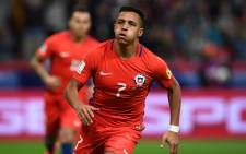 Chile's forward Alexis Sanchez reacts after scoring a goal during the 2017 Confederations Cup group B football match between Germany and Chile at the Kazan Arena Stadium in Kazan on 22 June, 2017. Picture: AFP.