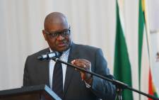 Gauteng premier David Makhura delivering the keynote address at the provinces Ethics and Anti-Corruption Indaba. Picture: @GautengProvince/Twitter.
