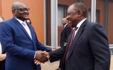 Gauteng Premier David Makhura greeting President Cyril Ramaphosa. Picture: @GautengProvince/Twitter.