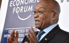 President Jacob Zuma addressing the media at the World Economic Forum on Africa in Durban. Picture: GCIS.