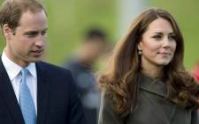 The Duke of Cambridge, Prince William, with his wife the Duchess of Cambridge, Kate Middleton. Picture: AFP