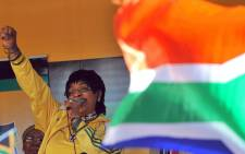 The late Winnie Madikizela-Mandela addressed members of the African National Congress (ANC) during a street party to celebrate the 2010 Fifa World Cup on 4 June 2010 in downtown Johannesburg. Picture: AFP