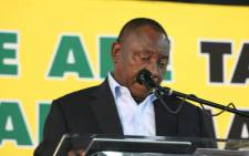 President Cyril Ramaphosa speaks during the first day of the ANC's Land Summit in Boksburg. Picture: @MYANC/Twitter.