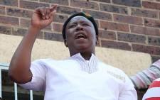 Julius Malema addresses workers at the Aurora mine. Picture: Taurai Maduna/EWN.