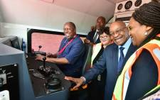 President Jacob Zuma takes a tour in the Trans Africa Locomotive in Pretoria. Picture: GCIS.