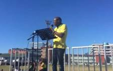 EThekwini ANC member Thabang Nyawose reads out the memorandum on behalf of the six regions. Picture: Ziyanda Ngcobo/EWN.