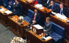 Western Cape Premier Helen Zille seated in the Provincial Legislature as points of order are being raised by ANC MPLs on 20 February 2015. Picture: Chanel September/EWN