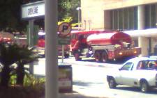Fire trucks at the scene of a fire at the HSBC building in Sandton. Picture: Supplied