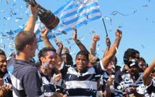 Ikeys celebrate on 14 April 2011 with captain Nick Fenton-Wells holding up the Varsity Cup Trophy. Picture: Alicia Pillay/Eyewitness News