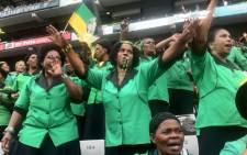 ANC Women's League members singing at the Kings Park Stadium ahead of the January eight statement. Picture: Sebabatso Mosamo/EWN