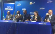 Democratic Alliance (DA) leadership holds a briefing on 1 year since the 2016 Local Govt Elections in which DA-led governments were elected in cities across the country. Picture: Clement Manyathela/EWN