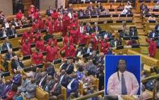 "A screengrab of Economic Freedom Fighters MPs leave the house chanting ""Zupta Must Fall"" during President Jacob Zuma's State of the Nation Address on 11 February, 2016."
