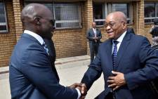 Home Affairs Minister Malusi Gigaba welcomes President Jacob Zuma upon arrival for the launch of Desmond Tutu Refugee Reception Centre in Pretoria. Picture: GCIS.