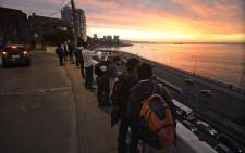 People remain in the street during a quake in Vina del Mar, Chile on 24 April, 2017. A strong 7.1-magnitude earthquake rattled central Chile on Monday, US geologists said. Picture: AFP.