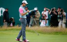 Rory McIlroy punches the air after winning the 2014 Open Championship. Picture: Official Open Championship Facebook Page.