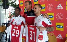 New Ajax Cape Town players Abia Nale, Lance Davids and coach Jan Versleijen. Picture: Alicia Pillay/EWN
