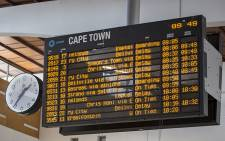 Several delays visible on the electronic timetable at Cape Town Station on 20 April 2016 following arson and vandalism of Metrorail property. Picture: Aletta Harrison/EWN